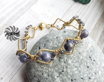 Wire Wrapped Tanzanite Cuff Bracelet