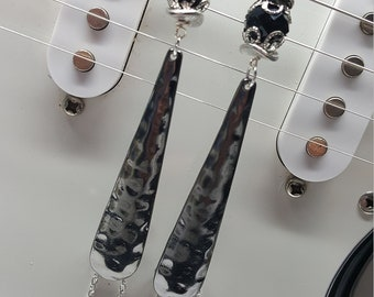 Gunmetal Black Textured Earrings with Chain