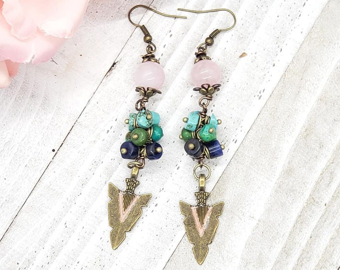 Featured listing image: Bronze resin Enhanced Arrow, Pink Rose Quartz and Mixed Gemstone Earrings