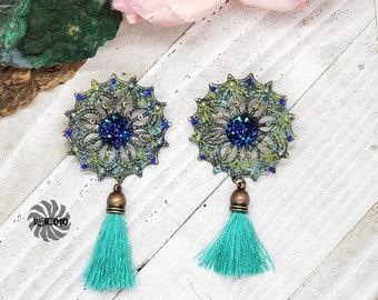 Summer Swing Green and Blue enhanced Filigree Post Earrings with Tassels