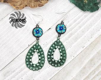 Green Crystal Filigree Earrings with Rhinestones