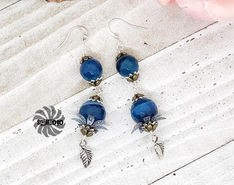 Blue Banded Agate Floral Earrings