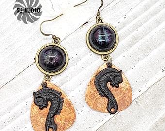 Copper & Resin Dragon Eye Earrings