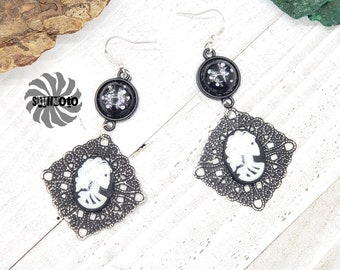 Lolita's Black Enhanced Filigree Earrings with Glass Hand Painted Dragon Eyes