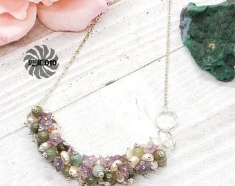 Lavender Wedding - Pearl, Agate and Glass Flower Cluster Necklace