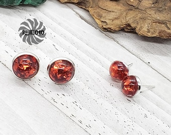Red Flake Glitter Silver Post Earrings, Mother and Daughter set