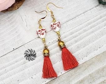 Red Tassel Earrings, Romantic Silk Earrings, Floral Glass Heart Earrings, Tassel Earrings, Valentines Earrings, Gold Earrings