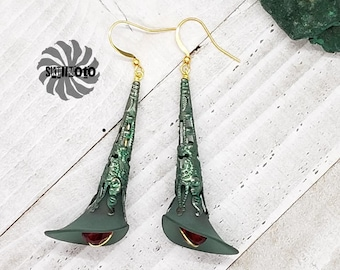 Green Enhanced Filigree Cone and Acrylic Bell Flower Earrings with Crystals