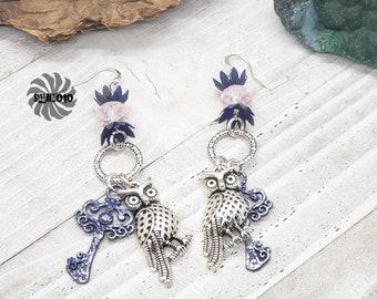Key & Owl Steampunk Earrings