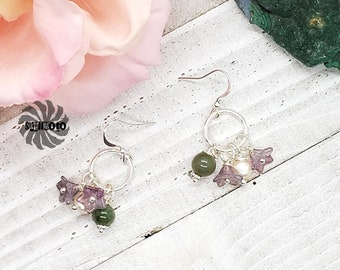 Lavender Wedding - Pearl, Agate and Glass Flower Earrings