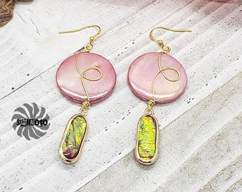 Coin Shape Wire Wrapped Mother of Pearl and Faux Opal Earrings