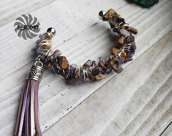 Tigerseye & Amethyst Wire Wrapped Cuff Bracelet with Tassel