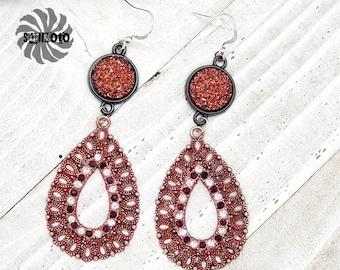 Red Crystal Filigree Earrings with Rhinestones