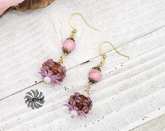 Morganite Earrings, Pink Flower Earrings, Handmade Earrings, Glass Earrings, Spring Earrings, Bronze Earrings, Valentines Gift