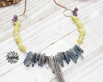 Powerful Kyanos, Kyanite Necklace, Spike Necklace, Feather Necklace, Jade Necklace, Amethyst Necklace, Unique Necklace, Unique Gift