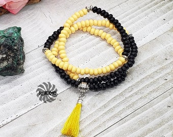 Yellow Jacket Color Block Black and Yellow Spring Summer Glass Tassel Necklace