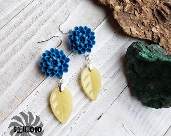 Blue Dalia Tridacna Flower and Jade Leaf Earrings