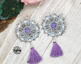 Summer Swing Lavender and Silver enhanced Filigree Post Earrings with Tassels