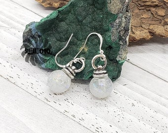 White Christmas Ornament Earrings