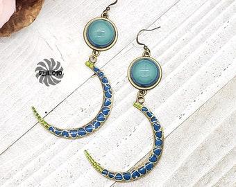 Love in glow Resin, Bronze Moon and Heart Celestial Glow in UV Earrings
