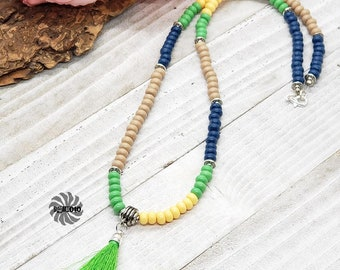 Color Block Necklace, Green Tassel Necklace, Spring Trend Necklace, Summer Necklace, Glass Tassel Necklace, Handmade Gift