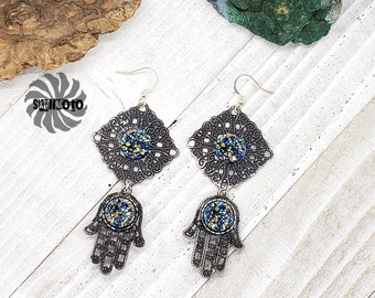Black Enhanced Tibetan Hamsa Hand and Filigree Earrings with Faux Black Druzy