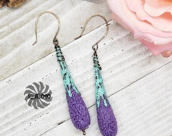 Spring Fling  Bronze Enhanced Filigree Earrings with Tridanca Teardrop Beads