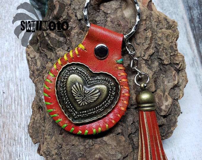 Featured listing image: Heart Red Marbled Leather Keychain with Leather Tassel, Key Fob