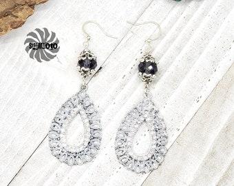Crystal Filigree Earrings with Rhinestones