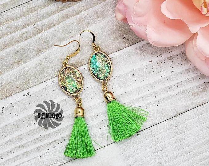 Featured listing image: Green Tassel Earrings, Summer Tassel Earrings, Faux Opal Earrings, Opal Earrings, Lemon Lime Earrings, Spring Earrings, Unique Earrings