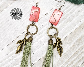 Mother of Pearl, Bronze Leaf Earrings with Embossed Leather Tassels