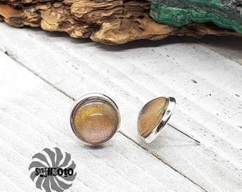 Gold Cat's Eye Glitter Silver Post Earrings