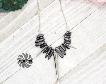 Spikes - Hematite Column Bead and Acrylic Spike Necklace