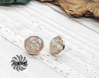 Faux Opal Flake Glitter Silver Post Earrings