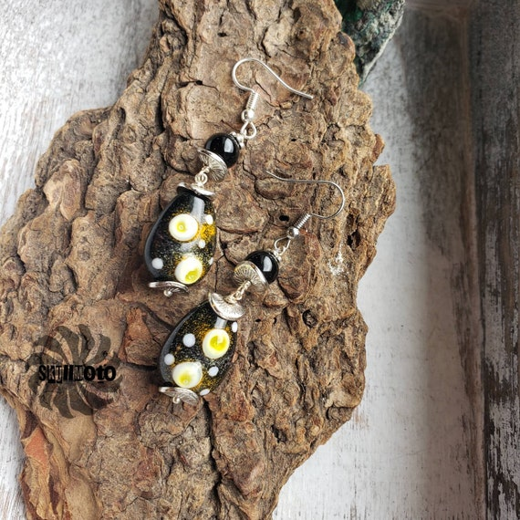 Black and Yellow Lampwork Glass Bead & Black Agate Earrings
