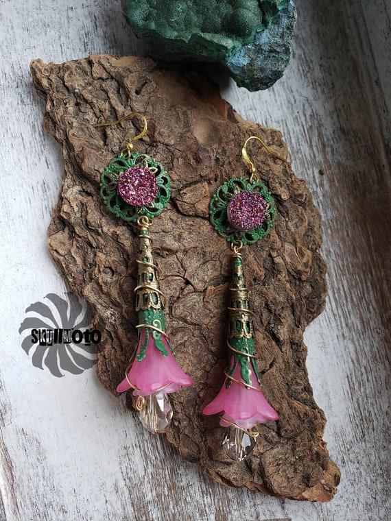 Spring Bouquet Green & Bronze Filigree Patina Enhanced Earrings