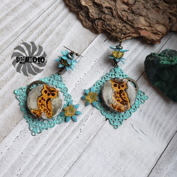 Enhanced Filigree and Owl Steampunk Earrings with Crystals