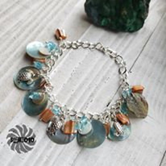 Mother of Pearl Disc, Crystal & Turtle Charm Bracelet