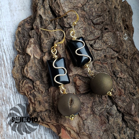 Black Agate & Gold Druzy Wire Wrapped Earrings
