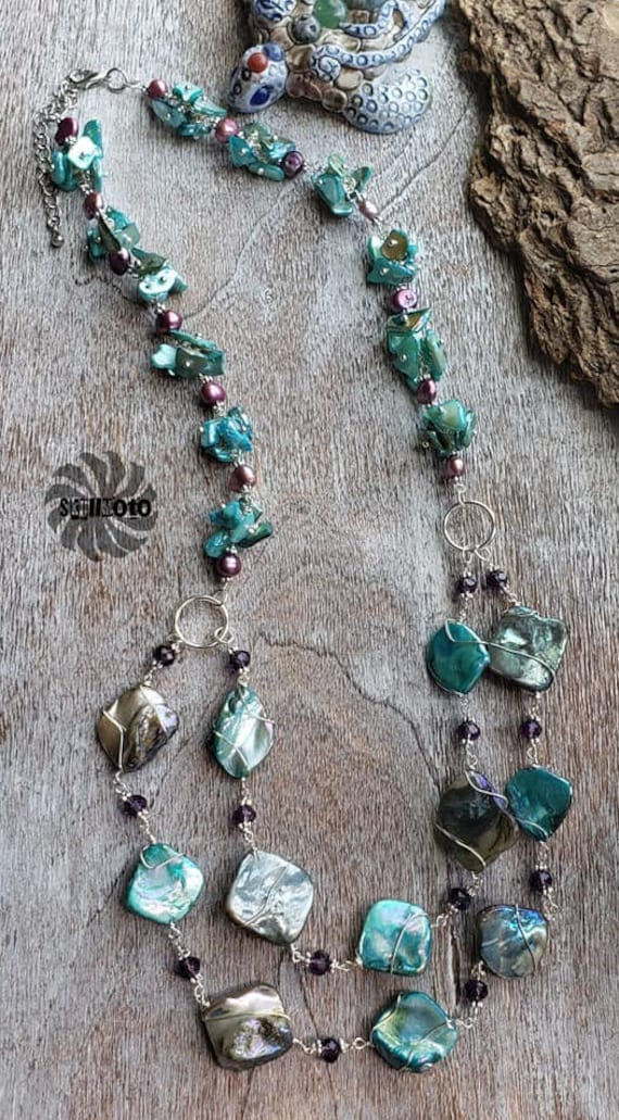 Wire Wrapped Mother of Pearl & Crystal Necklace