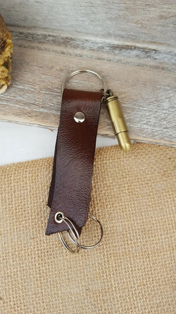 Leather Triple Ring Keychain, Key Fob with Shell