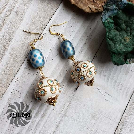 Greek Goddess Glass and Polymer Earrings