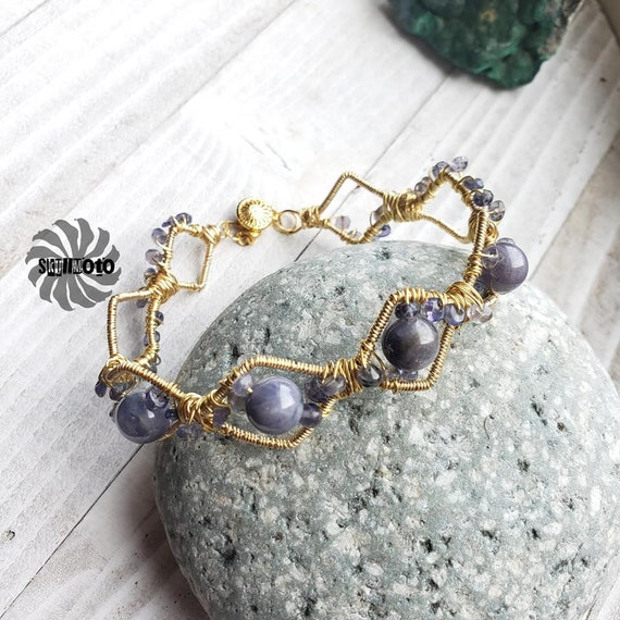 Wire Wrapped Tanzanite Cuff Bracelet