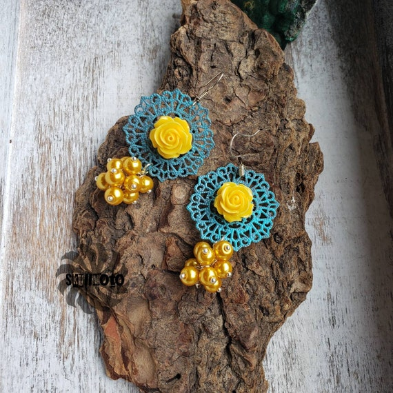 Yellow Floral & Filigree Cluster Earrings