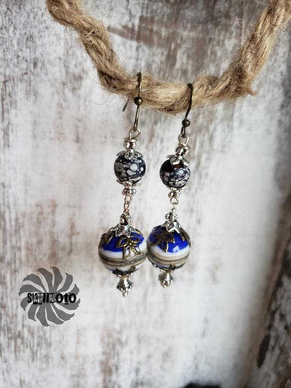 Bronze & Cobalt Blue Lampwork Glass Earrings