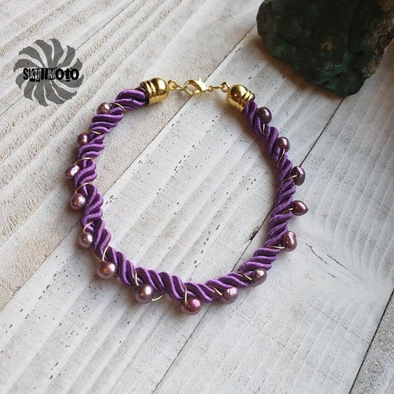 Purple Freshwater Pearl Wire Wrapped Silk Cord Bracelet