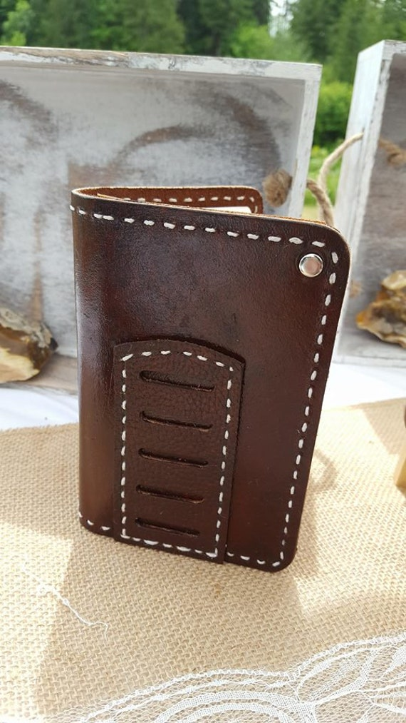 Dark Stained Leather Journal with Pen Pocket