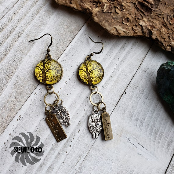 Tree of Life and Owl Earrings