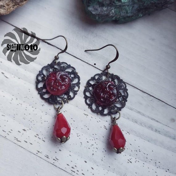 Gothic Enhanced Filigree and Resin Face Earrings with Crystals