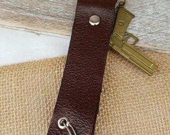 Leather Triple Ring Keychain, Key Fob with Handgun